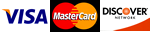 Visa, MasterCard & Discover credit cards accepted